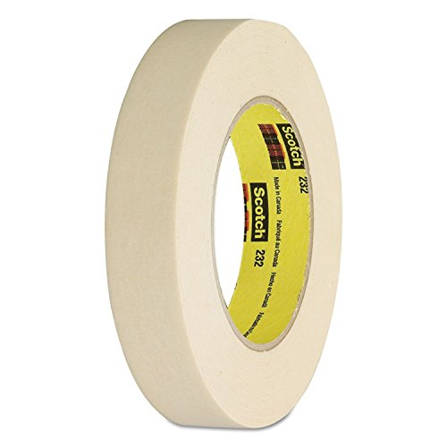 3M Scotch 232 High Performance Masking Tape, 250 Degree F Performance Temperature, 27 lbs/in Tensile Strength, 55m Length x 24mm Width, Tan