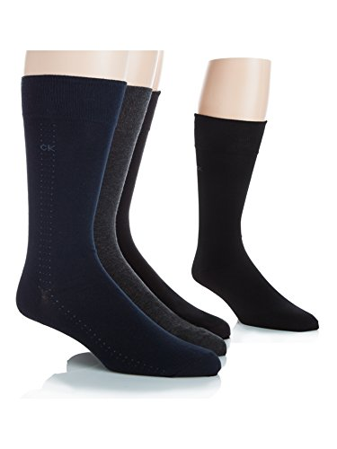 Calvin Klein Men's Crew Dress Socks - Bonus 4 Pack, Navy/Chocolate/Black, Large
