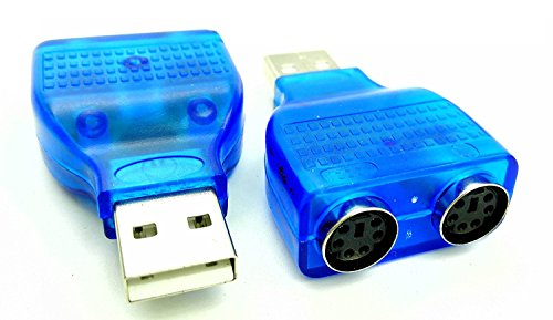 - zdyCGTime (2-Pack) Blue Mouse Keyboard USB A Male to Dual PS/2 Female Connector Adapter,New USB Male to 2 PS/2 Female Active Adapter T-Splitter