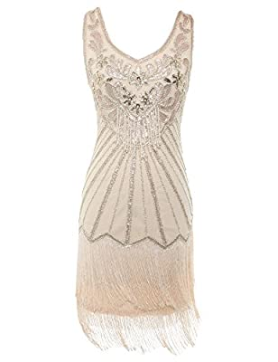 celeblink Women's Flapper Dress 1920s V Neck Beaded Fringed Great Gatsby Dress