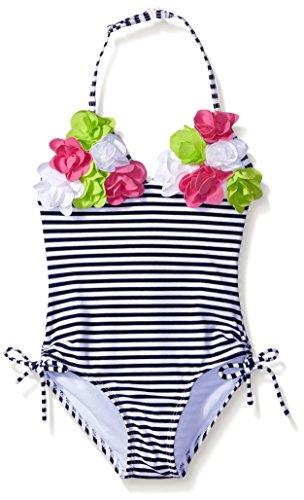 Kate Mack Little Girls' Toddler Seaside Bliss Stripe One Piece Swimsuit, Navy/White, 2T