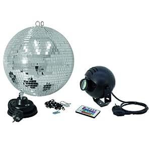 Eurolite 50101862 - Conjunto de bola de espejo (30 cm) para techo con foco de luz (FB, RGB, LED)