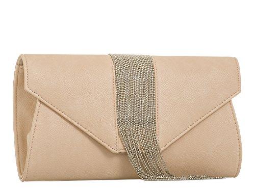 Fringe Ladies Bag Clutch Handbag Bridal Party Metallic Women's Faux Purse Leather Pink KL2044 A6qw46tr