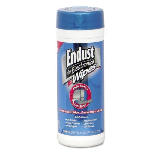 Endust - Antistatic Premoistened Wipes for Electronics, Cloth, 5 1/2 x 7, 70/Tub 259-000 (DMi EA