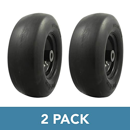 MARASTAR 00232-2pk Universal Fit Flat Free 11x4.00-5 Lawnmower Tire Assembly, 3.4