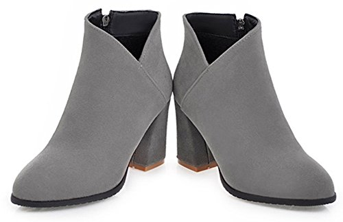 Aisun Womens Trendy Inside Zip Up Pointed Toe Dressy Booties Block High Heel Ankle Boots With Zipper Gray YZO4JYlV1