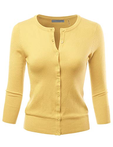 LALABEE Women's 3/4 Sleeve Crewneck Button Down Knit Sweater Cardigan BABYYELLOW S ()