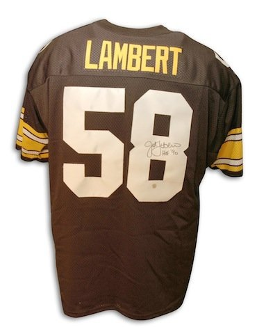 Autographed Jack Lambert Pittsburgh Steelers Throwback black Jersey HOF inscription (Jack Lambert Throwback Jersey compare prices)