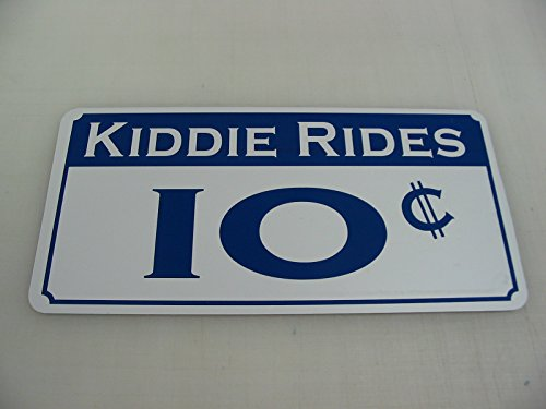 KIDDIE RIDES 10 CENTS Metal Sign Casino Carnival