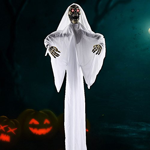 Skeleton Halloween Decorations Halloween Prop Hanging Ghost Decorations Hanging Skeleton Flying Ghost Decor for Yard Outdoor Indoor Party (White-B, 1 Pack)