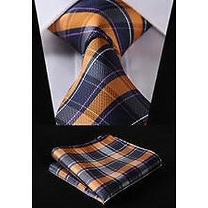 "Dan Smatree Orange Blue Check 3.4"" Silk Woven Men Tie Necktie Handkerchief Set"