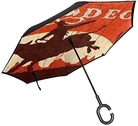 ビンテージカウボーイカウボーイ ユニセックス二重層防水ストレート傘車逆折りたたみ傘C形ハンドル付き