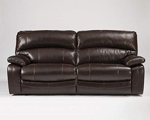 (Ashley Furniture Signature Design - Damacio Manual Recliner Sofa - 1 Pull Reclining - Leather interior - Dark Brown)