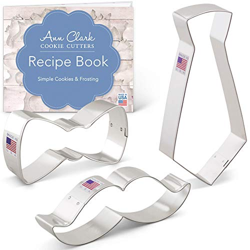 - Little Man Cookie Cutter Set with Recipe Book - 3 piece - Bow Tie, Mustache and Necktie - Ann Clark - Tin Plated Steel
