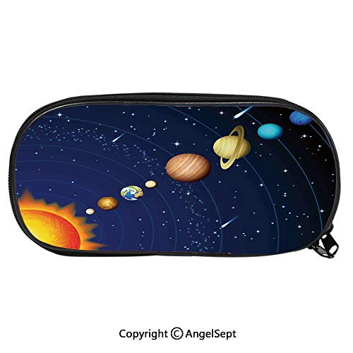 Child Pencil Case Solar System with Sun Uranus Venus Jupiter Mars Pluto Saturn Neptune Image School Pen Bag Stationary Multipurpose Pouch for Girls Makeup Cosmetic BagDark Blue Orange