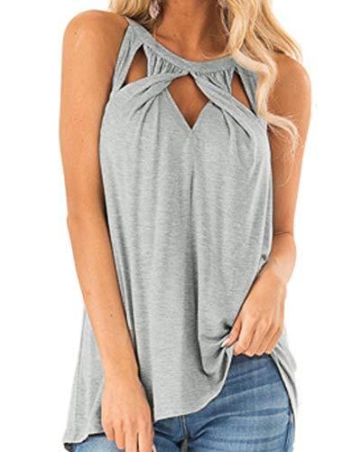 Ferrtye Womens Tank Top Summer Criss Cross Cut Out Casual Sleeveless Tunic Cami Shirts - Top One Keyhole Clothing Jersey