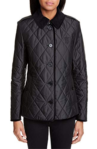 BURBERRY Fernhill Check Trim Monogram Motif Diamond Quilted Jacket in Black