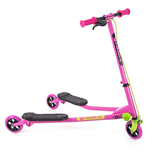 Yvolution Y Fliker Air A1 Swing Wiggle Scooter | Three Wheels Drifter for Boys and Girls Age 5 Years Old and Up (Pink/Green)