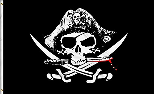 Aimto 3x5 FT Dead Man's Chest Flag (CrossKnife Flag) -Halloween Flags Bright Colors And Anti-Fading Materials - Pirate Flags Polyester Canvas And Brass Buttonhole - Quality Assurance (CrossKnife Flag)