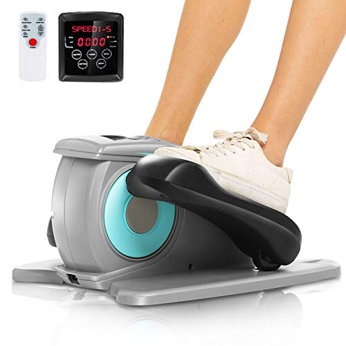 ANCHEER Desk Elliptical w/Built in Display Monitor, Quiet & Compact, Electric Elliptical Machine Trainer (Gray)