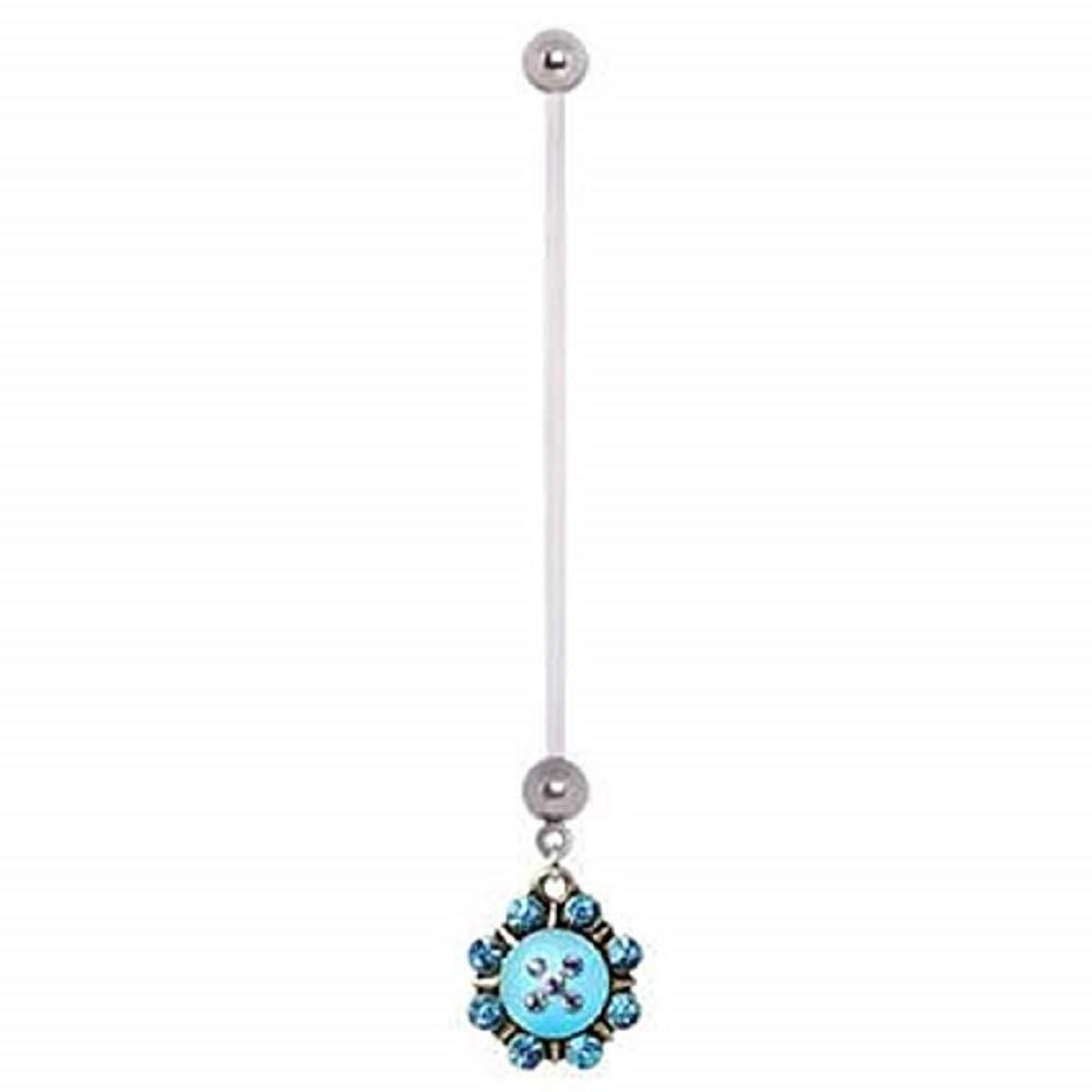 Freedom Fashion 316L Surgical Steel PTFE Aqua Naurtical Sunburst Dangle Pregnancy Navel Ring Sold by Piece