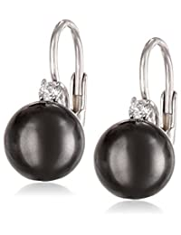 Sterling Silver Shell Pearl and Cubic Zirconia Lever Back Earrings (8mm)