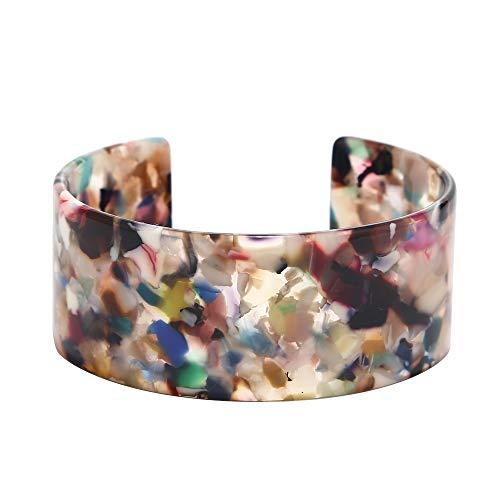 Eran Fashions Acrylic Bangle Bracelets for Women Girls Acetate Cuff Bangles Bracelet Resin Open Bangle Bracelets (Multi)