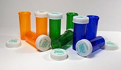 Plastic Prescription Cobalt Blue Vials//Bottles 25 Pack w//Non-CHILDPROOF Caps 8 Dram Size-New