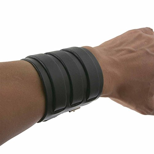 HZMAN Dark Brown Leather Wide Triple Strap Cuff Wrap Gauntlet Wristband Buckle Fastening Arm Armor Cuff (Black) (Strap Black Triple)