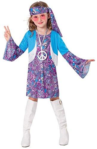 Chaks c4158116, Costume Hippie Blu Ragazza 116 cm, 4 – 6 anni