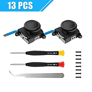 2-Pack 3D Replacement Joystick Analog Thumb Stick for Switch Joy-Con Controller - Include Tri-Wing, Cross Screwdriver, Tweezers