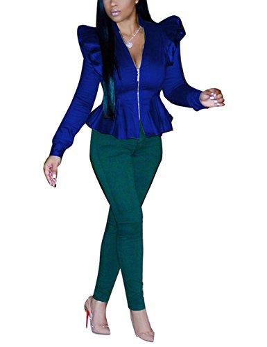 Akmipoem Fashion Shrug Shoulder Puff Sleeve Zipper Up Peplum Frill Blazer Jacket Coat for Ladies Royal Blue ()