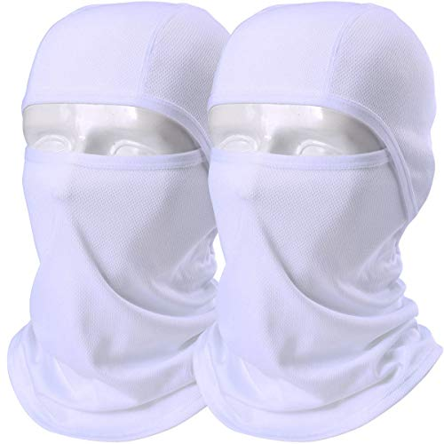 AXBXCX 2 Pack Balaclava - Breathable Face Mask Windproof Dust Sun UV Protection for Motorcycle Cycling Motocross Riding Hunting Hiking Fishing Ski Snowboard Tactical Paintball Airsoft White
