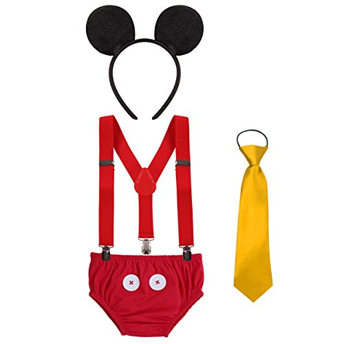 Baby Boy's Girl's Y Back Clip Suspenders 1st/2nd/3rd Birthday Cake Smash Bloomers Bowtie Outfits Set Cute Mouse Ears Costume #2 Red Triangle Pants 12-18 Months