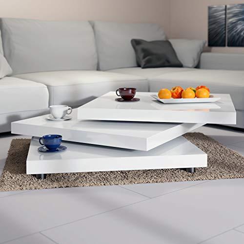 Deuba Mesa de Centro Moderna Blanca Mesa de Cafe lacada mesita 60 x 60 cm bandejas giratorias 360° Comedor salon Oficina