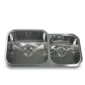 Nantucket Sinks NS12-16 33-Inch  60/40 Double Bowl Undermount Stainless Steel Kitchen Sink