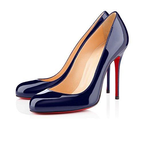 Schuhe Navy Gericht Patent uBeauty High Stiletto Pumps Sandalen Schuhe Runde Für Kleid frauen Zehe Arbeitsplatz Heel Heels On Slip qxq4XTwY