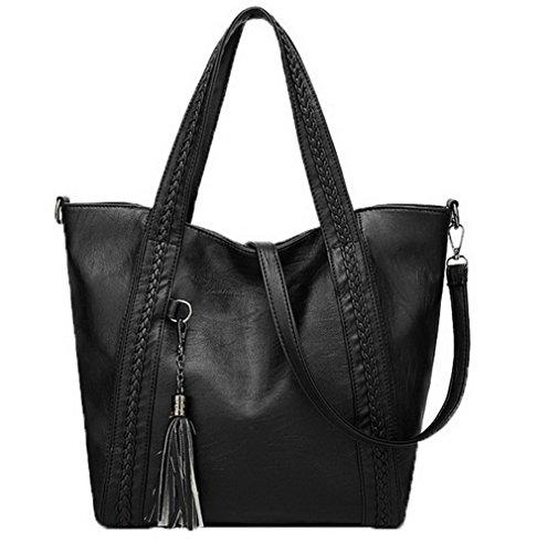 Voguezone009 Formal Handbags Women Pu Strip Crossed Casual Black Shoulder Bags