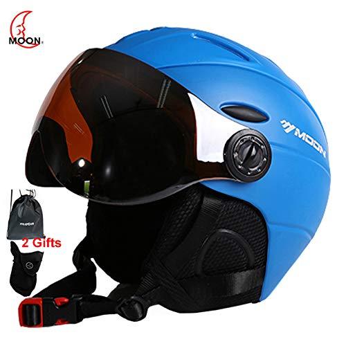 MOON Ski Helmet Ultralight Integrally-Molded Professional Snowboard Skateboard Helmet Men Women Multi Colors (Blue, L(58-61cm))