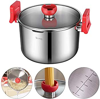 Michelangelo 5 Quart Stainless Steel Pasta Pot Induction Ready