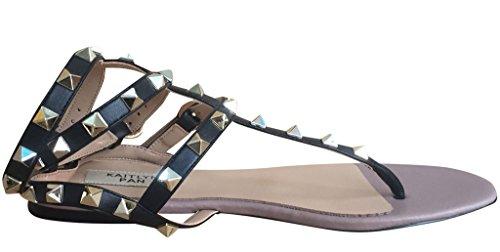 Kaitlyn Pan Besat T-rem Flad Sandal Sort LxmuAM2mNn