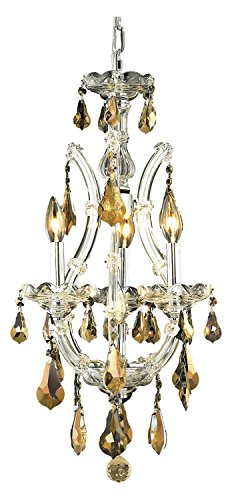 Elegant Lighting 2801D12C-Gt/Ss Swarovski Elements Smoky Golden Teak Crystal Maria Theresa 4-Light, Single-Tier Crystal Chandelier, Finished in Chrome with Smoky Golden Teak Crystals ()