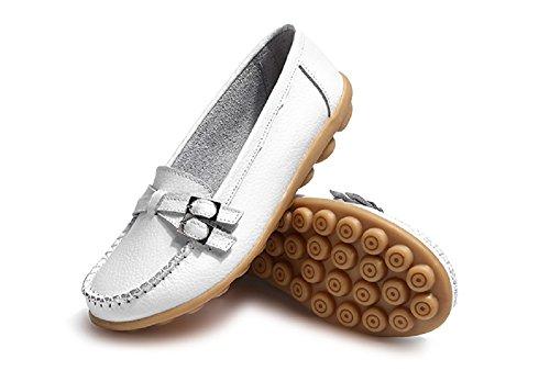 Comfort Loafers Slip Moda con Guida Nero On Donna Pelle Mocassini Multicolors Zeppa Estivi 44 bianca Comode 34 da Scarpe in pt47wY