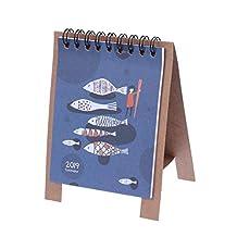 YeahiBaby Table Calendars 2019 Fresh Cartoon Kawaii Series Mini Desk Paper Calendars (Fish Picture)