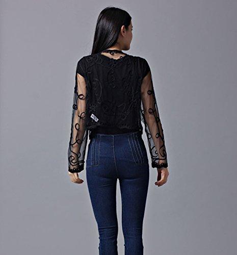 Giovane Netto Filato Moda Nero Abbigliamento Pizzo Coprispalle Cardigan Trasparente Manica Da Bolero Jacket Lunga Di Ragazza Elegante Donna Top Fashionable Cerimonia 4qwOFS7