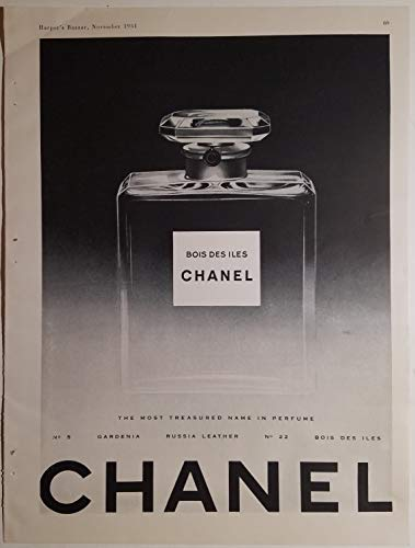 CHANEL Bois Des Iles Treasured Name Perfume Bottle 1951 Ad -