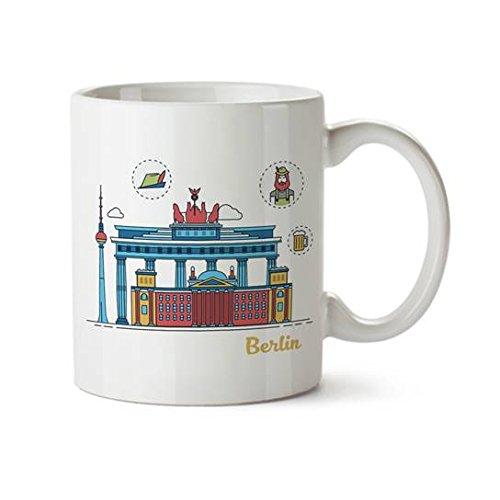 Berlin Colorful Minimal Design Coffee Mug - Ceramic - 11 oz - Berlin Souvenir Cup Mom, Dad, Boyfriend, Girlfriend