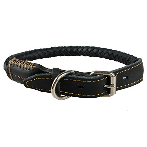 berry pet leather dog collar rolled rounded rope dog pet collar