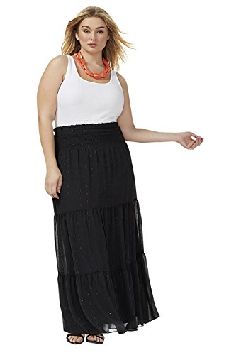 Lane Bryant Women's Dot Maxi Skirt 26/28 Black from Lane Bryant