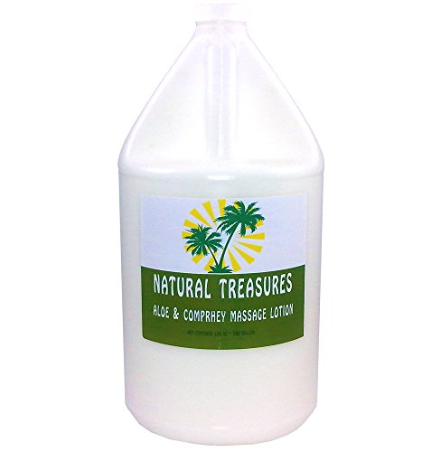 Natural Treasures ULTRAGLIDE Massage Lotion with added Aloe & Comfrey - Coconut. Oil Base 128 Ounces - One Gallon by Natural Treasures and Barclay Labs